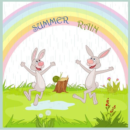 Gladness hare under summer rain Vector