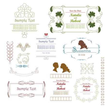 Frames and vignettes with silhouettes and calligraphic  line Vector