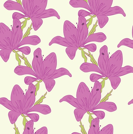 Violet flowers on the tender  yellow background Vector