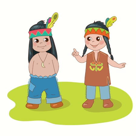 national costume: Indian boy and girl on the white background