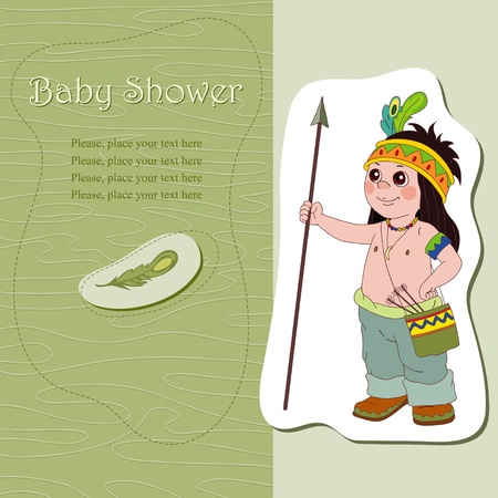 baby in suit: Baby shower with brave warrior Illustration