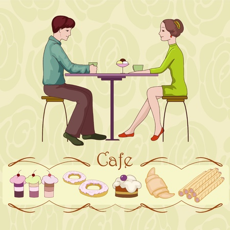 Loving couple in cafe