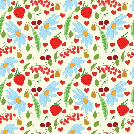 Bright summer pattern with flowers and berry Stock Vector - 19932659