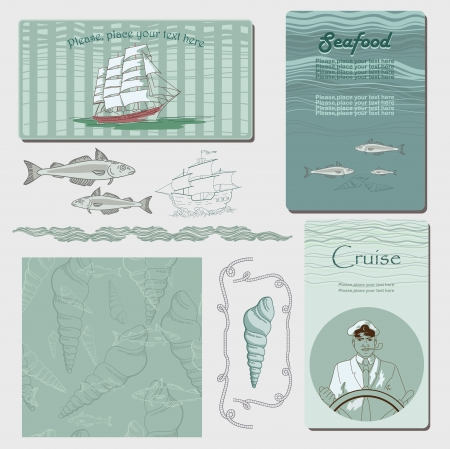 ship with gift: Sea graphic illustrations with elements