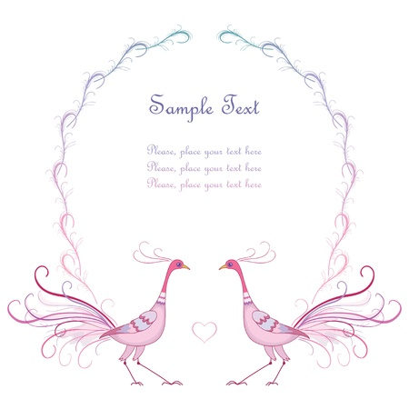 lines: Tender pink frame with two birds Illustration