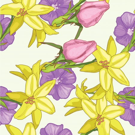 Summer pattern with yellow lily