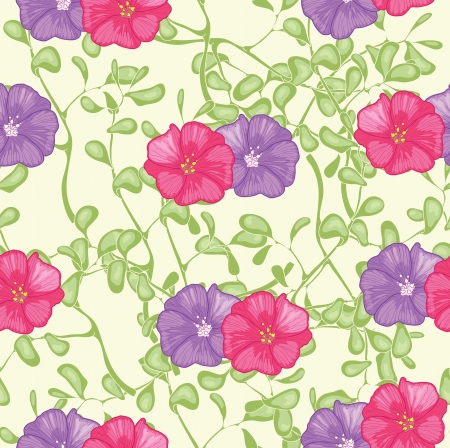 violet red: Red and violet flowers on the yellow background