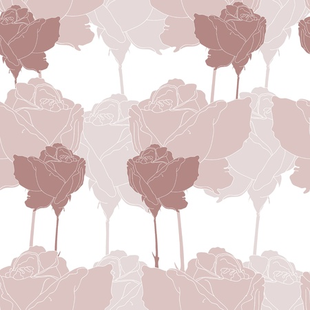 Stylish pattern with  coffee-coloured roses Illustration