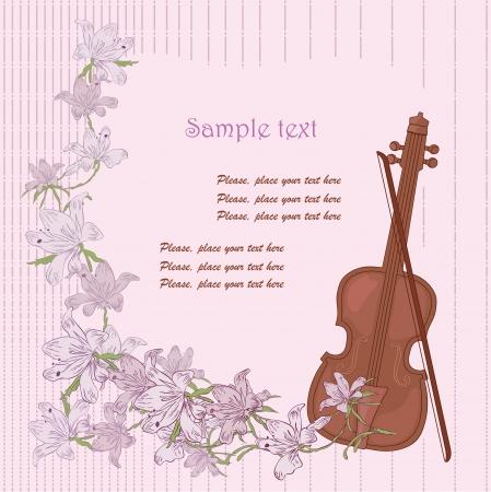 Old violin and flowers Иллюстрация