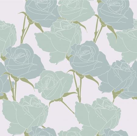 tender: Tender blue roses on the pale background Illustration