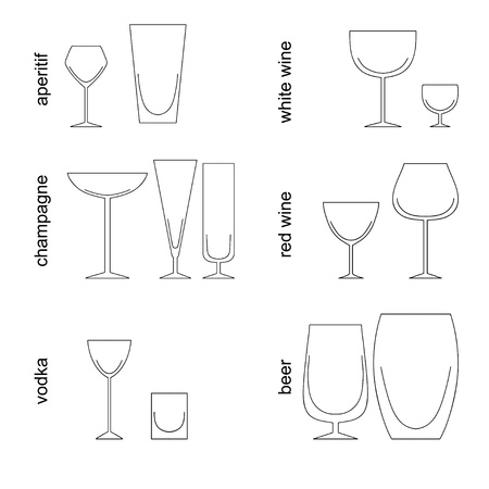 Table of goblet for wine and others drinks Illustration