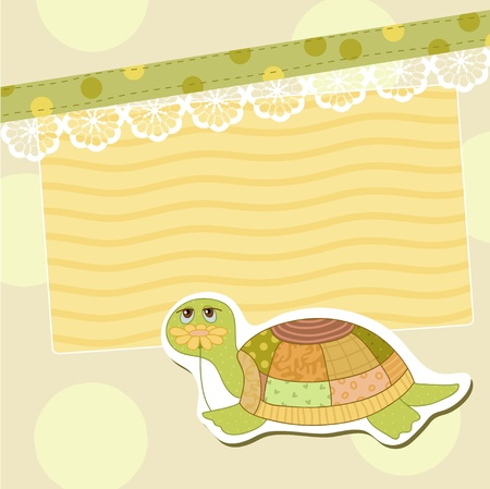 Turtle with flower Vector