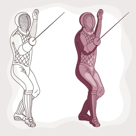 Drawing master of fencing with rapier Vector