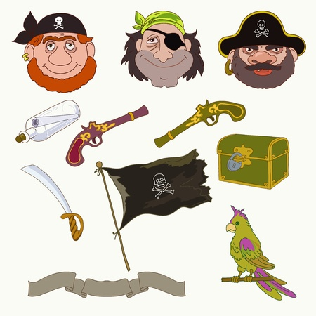 pirates flag design: Three pirates