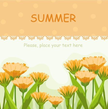 Frame with orange  calendula Stock Vector - 20708670