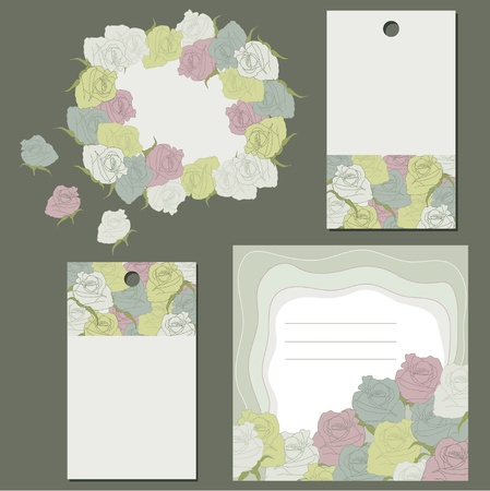 Frames and graphic roses Vector