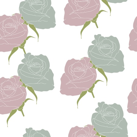 Conventionalized roses on the white  background Vector