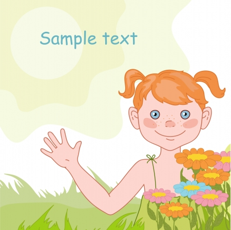 Cheerful girl on the summer background Vector