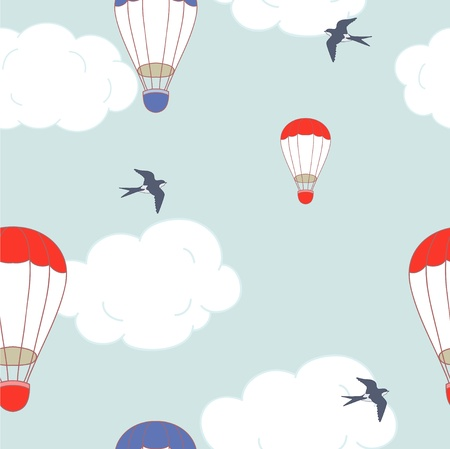 Balloons and swallow in the sky Illustration