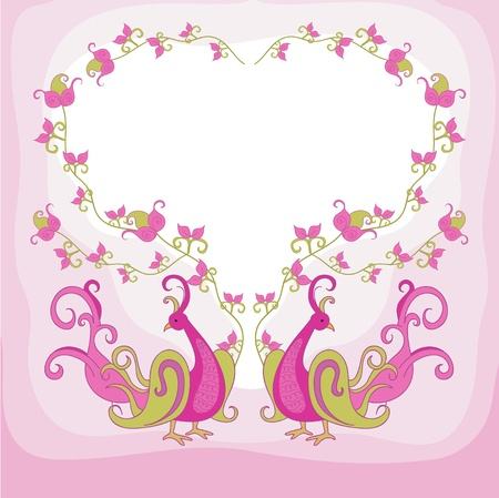 Fairy bird and plant as a heart Vector