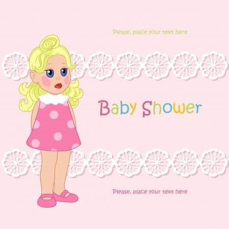 Little girl and pink background Banco de Imagens - 20708739