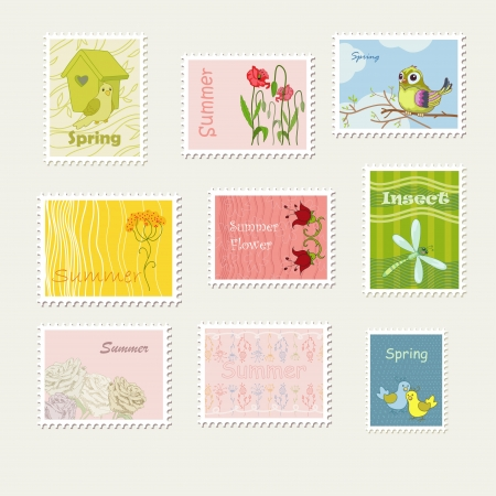 Bright summer and spring stamps Vector