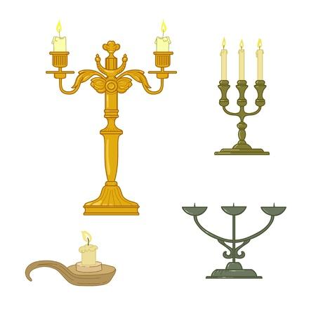 candelabrum: Candle and old  classical  candelabrum Illustration