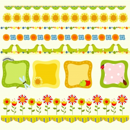 Bright summer frames with  insect Vector