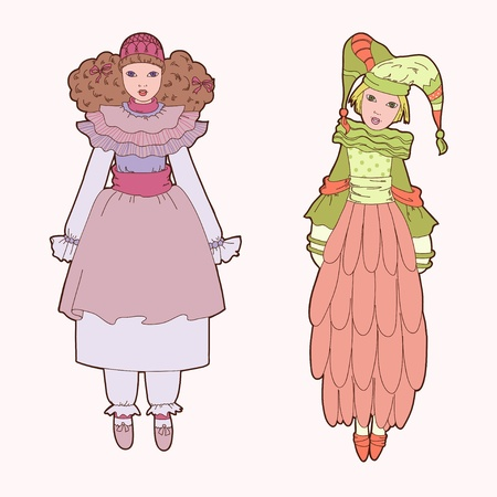 modesty: Two theatre doll Illustration