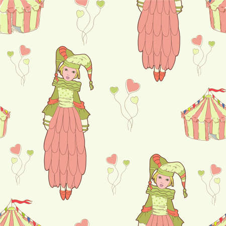 couturier: Pattern with circus tent Illustration
