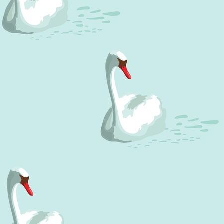 Pattern with white swan Vector