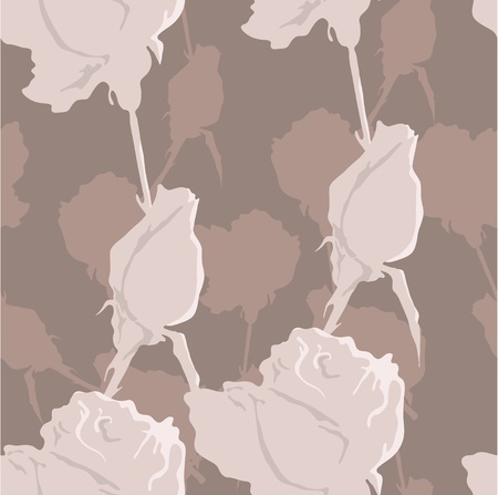 Beige roses and brown  background Illustration