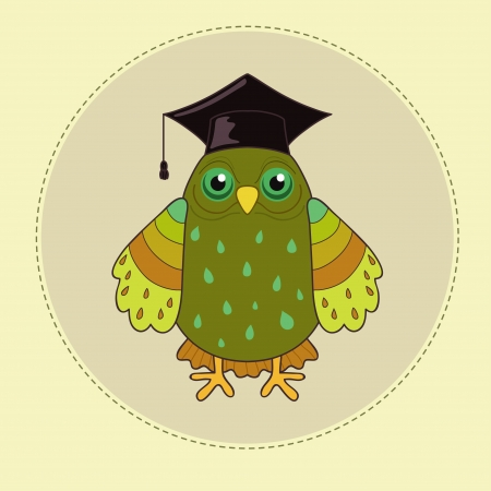 Green owl is symbol wisdom Vector