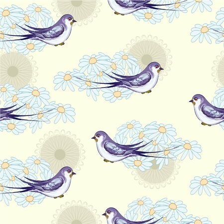 Swallow and camomile on the yellow  background Vector