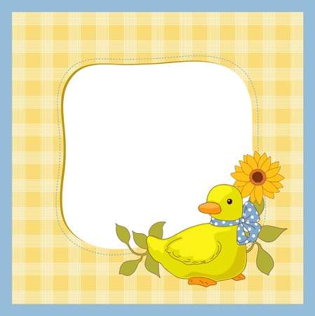 Little duck and sunflower Vector