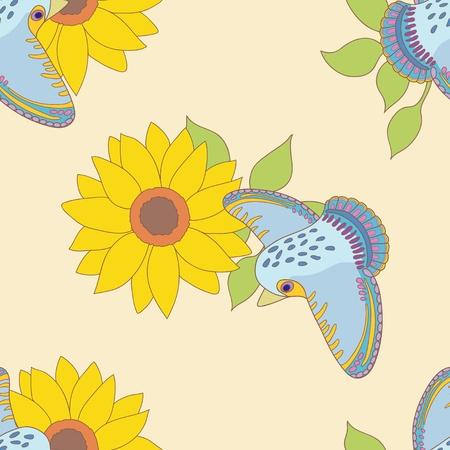 tomtit: Tomtit and sunflower Illustration