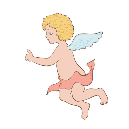 godlike: Little cupid on the white background