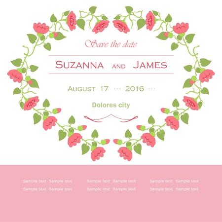 Pink frame for wedding Vector