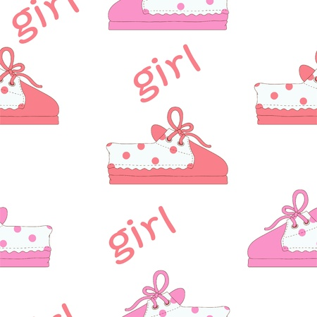 bootees: Pink footwear for girl Illustration