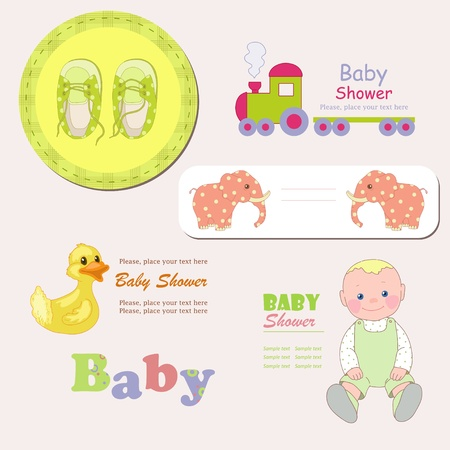 bootees: Frames with toys Illustration