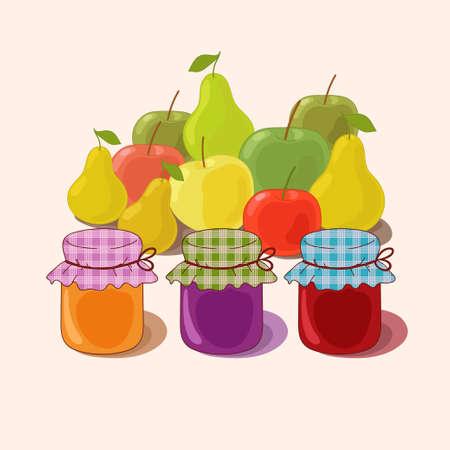confiture: Jam and autumn harvest Illustration