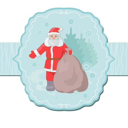 Santa Claus and sack with gift Vector