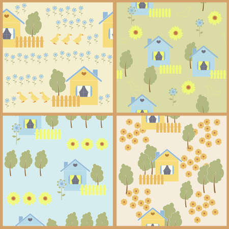 datcha: Nature et chalet dans le village Illustration