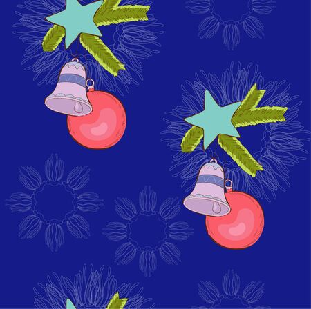 deep blue: Christmas-tree decorations on the deep blue  background