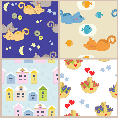 Fabric with cat for child Vector