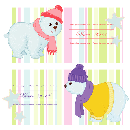 Label with polar bear Vector