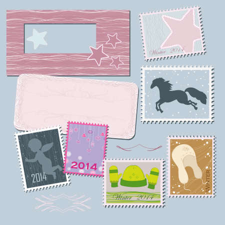Stamps for holiday Vector