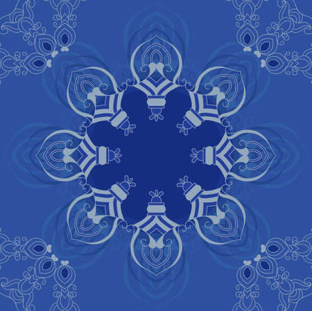 tapis: Blue ornamental frame Illustration