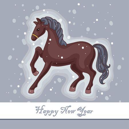 Decorative horse on the gray background Illustration