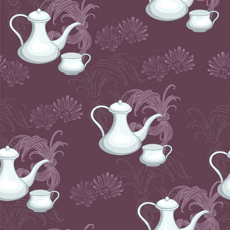Teapot and cup on the brown background Vector
